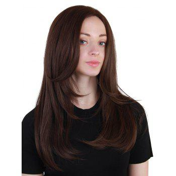 Middle Part Layered Long Straight Synthetic Wig - BROWN