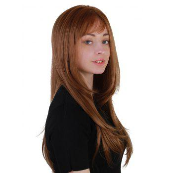 Long Inclined Bang Layered Straight Party Synthetic Wig - COPPER