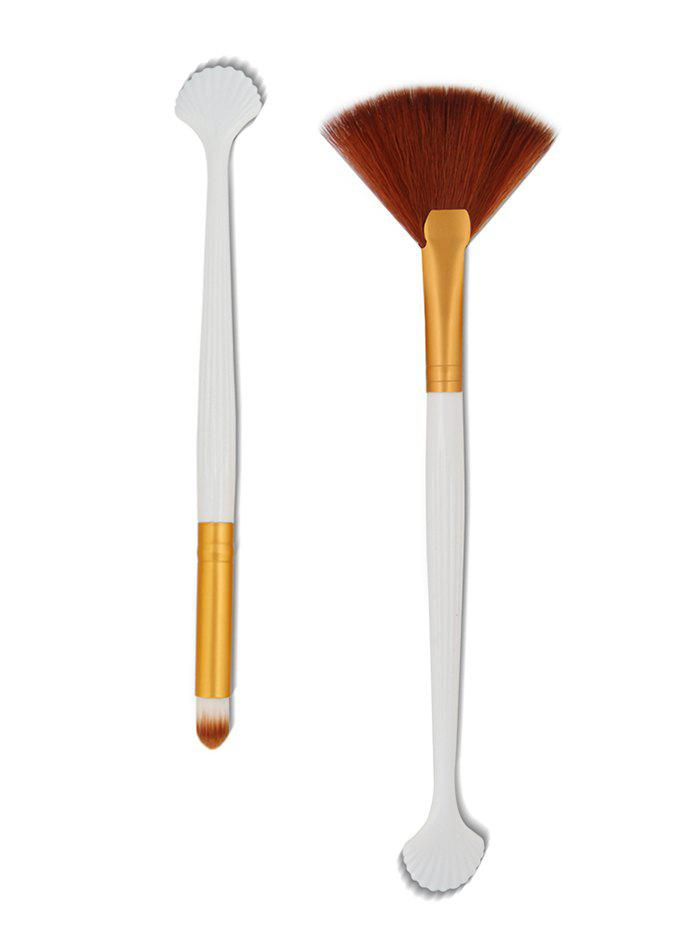 2Pcs Shell Shape Fiber Hair Eyeshadow Powder Makeup Brush - GOLD