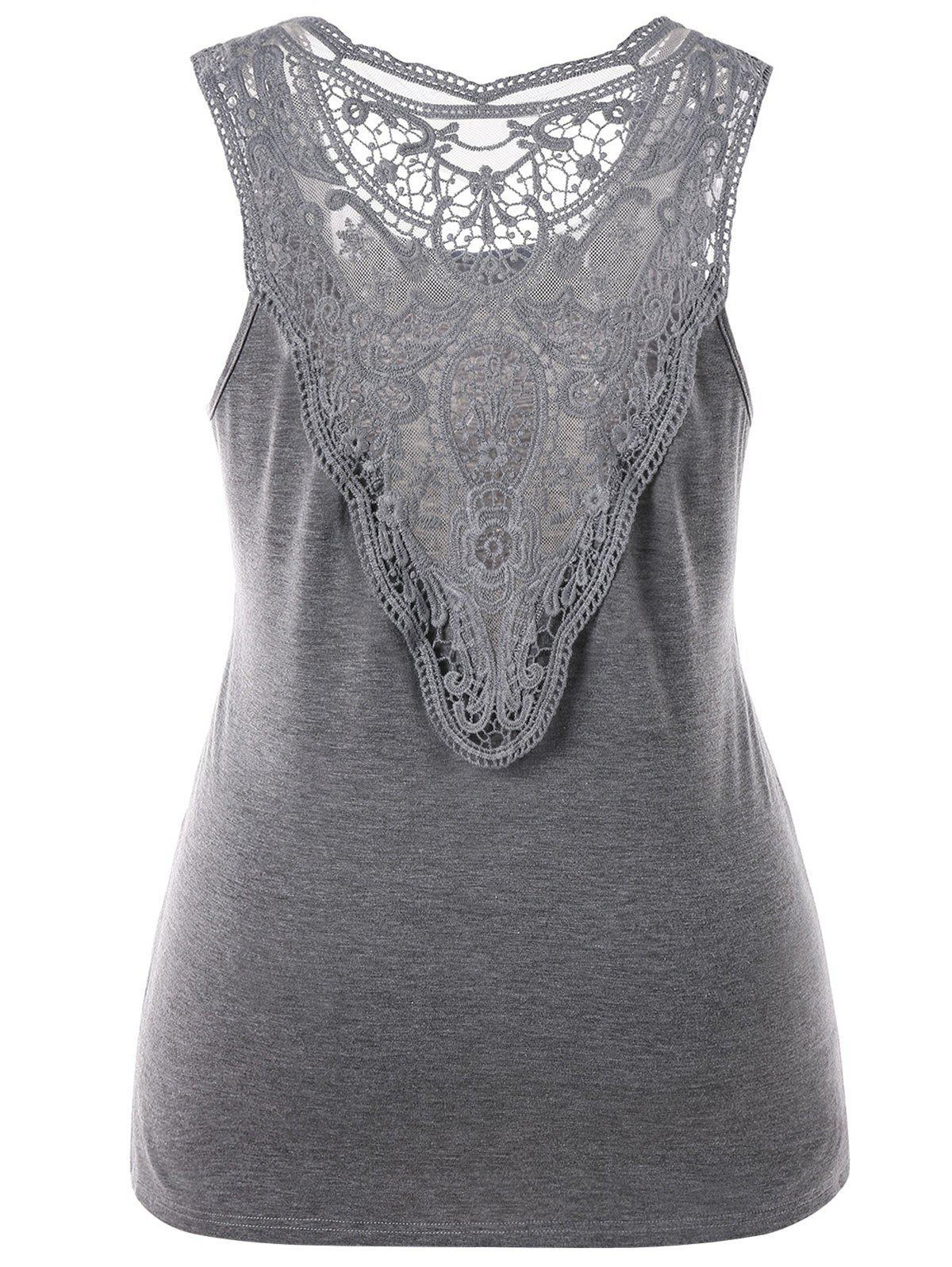 Plus Size Back Sheer Lace Top - GRAY 4XL