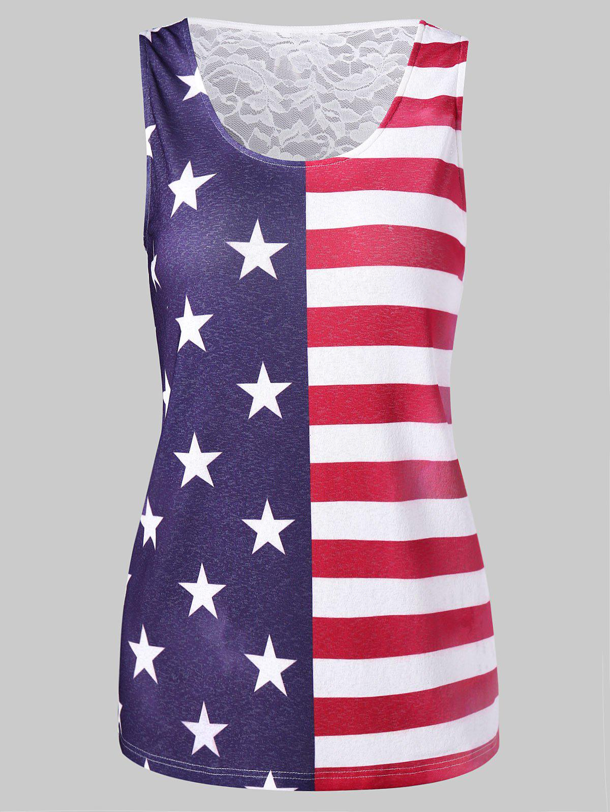 Lace Back American Flag Tank Top - multicolor XL