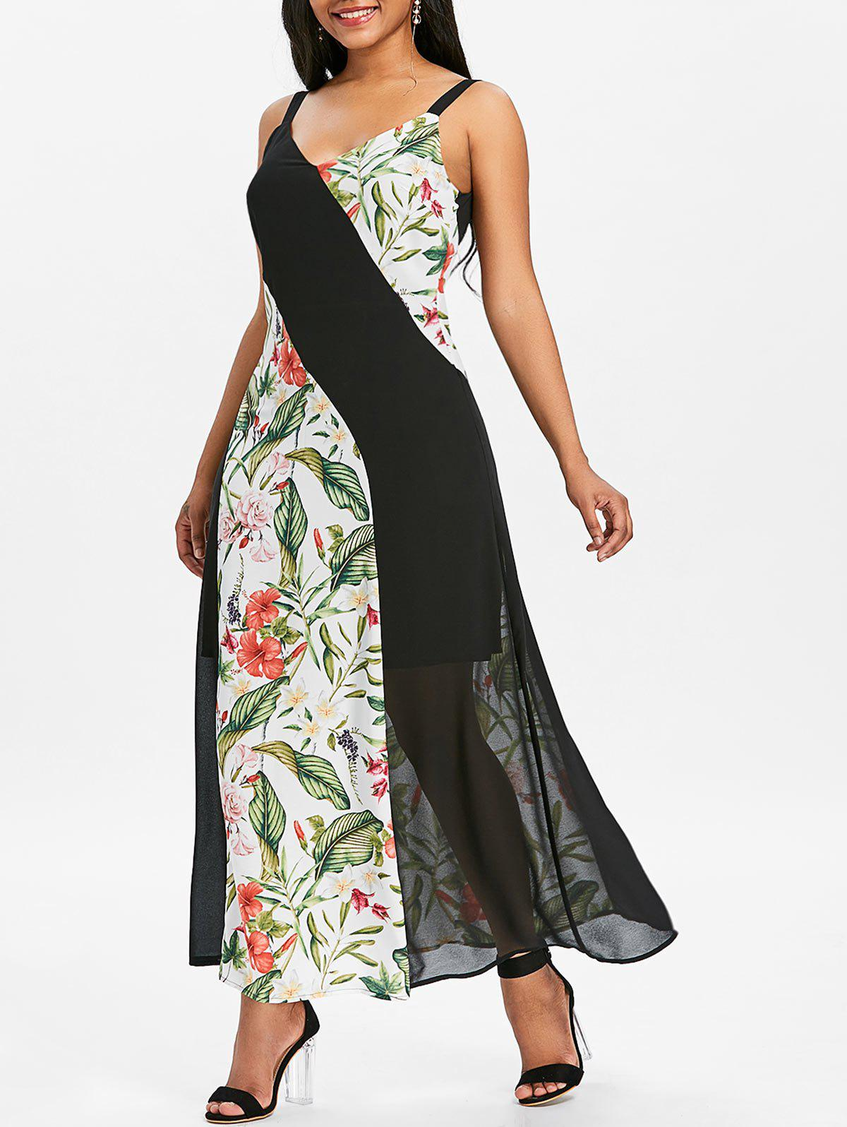 Chiffon Maxi Dress with Floral Print Panels - multicolor XL