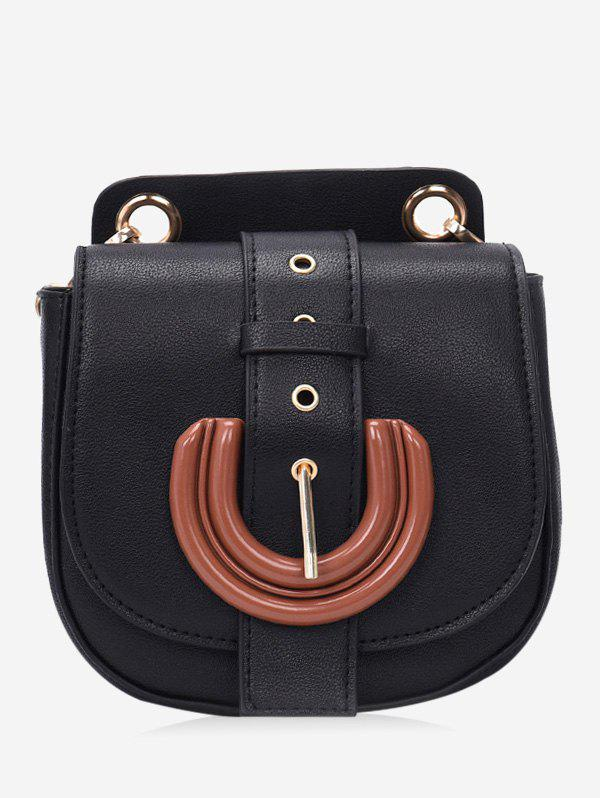 Vintage Buckle Detail Chain Shoulder Bag - BLACK