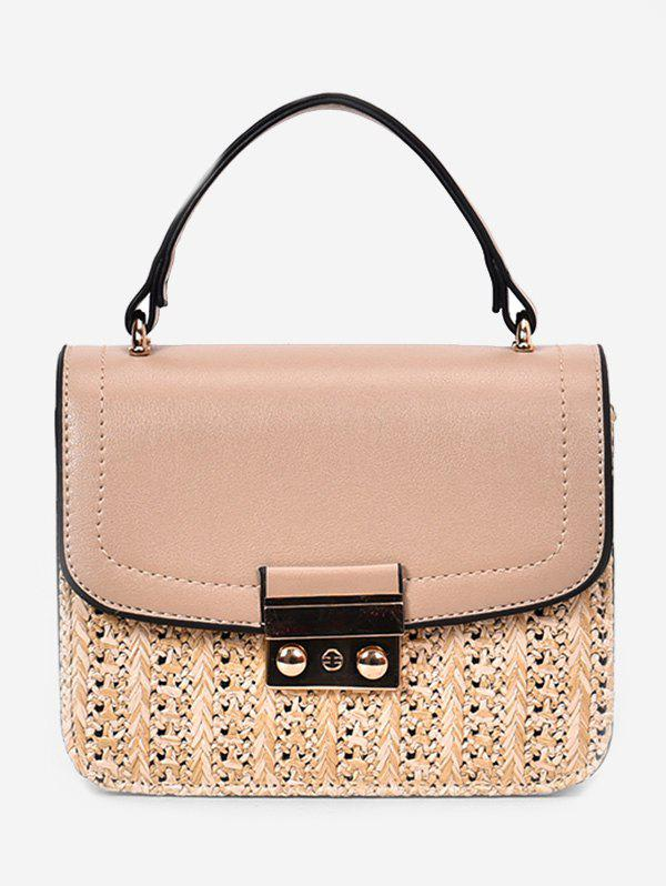 Vacation Straw Style Chain Crossbody Bag with Handle - LIGHT KHAKI