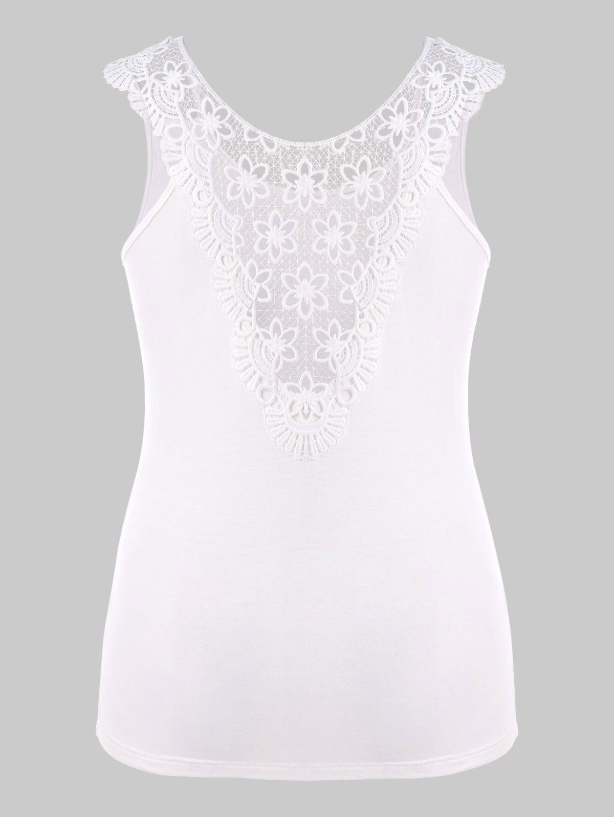 Plus Size Lace Hollow Out T-shirt - WHITE 1X