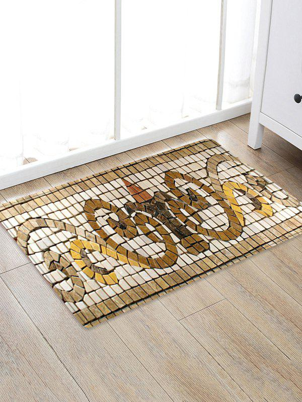 Uhommi Retro Tile Pattern Printed Skidproof Area Rug - WARM WHITE W20 INCH * L31.5 INCH