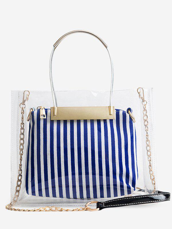 Transparent 2 Pieces Handbag Set with Strap - BLUE