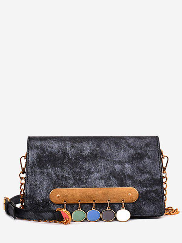 Retro Buttons Metal Bar Decorated Crossbody Bag - BLACK