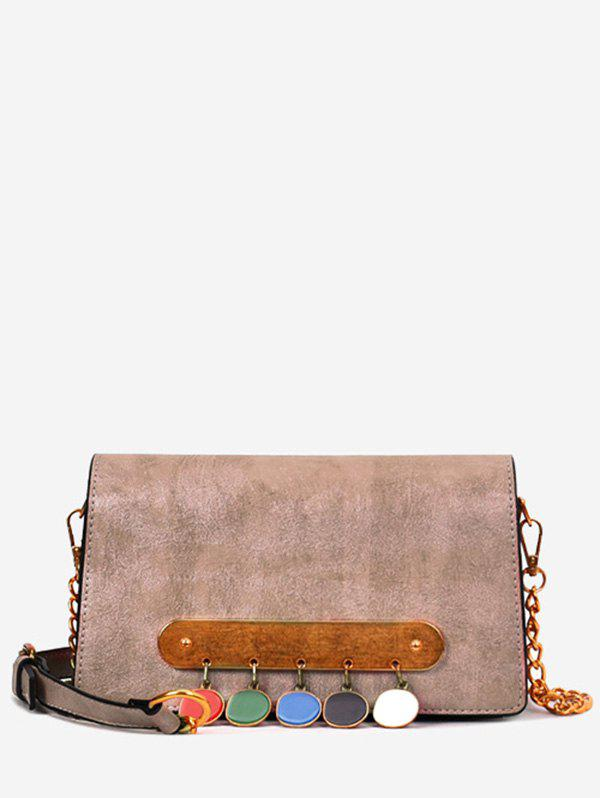 Retro Buttons Metal Bar Decorated Crossbody Bag - BROWN