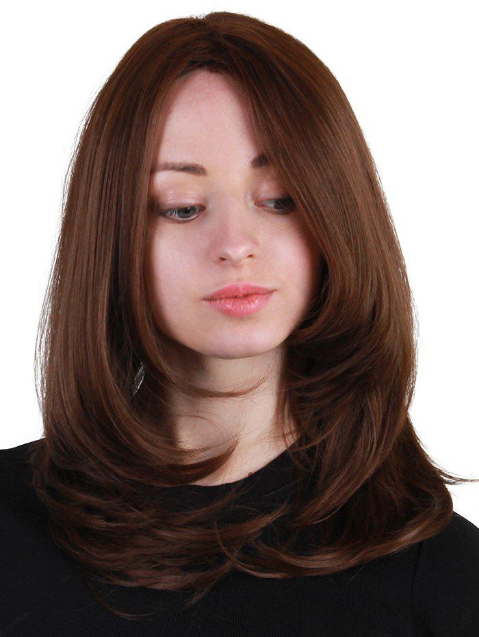 Medium Side Bang Layered Straight Synthetic Wig - BROWN