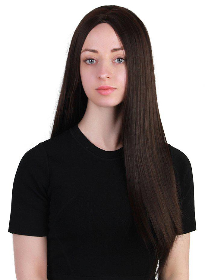 Long Center Parting Synthetic Straight Wig - NATURAL BLACK
