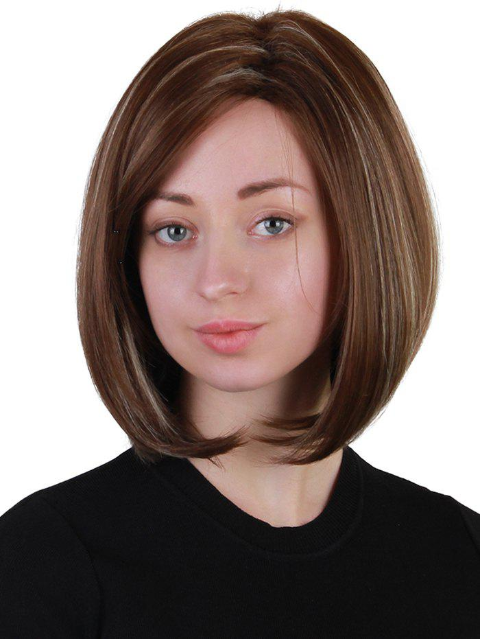 Short Inclined Bang Highlighted Straight Bob Synthetic Wig - multicolor