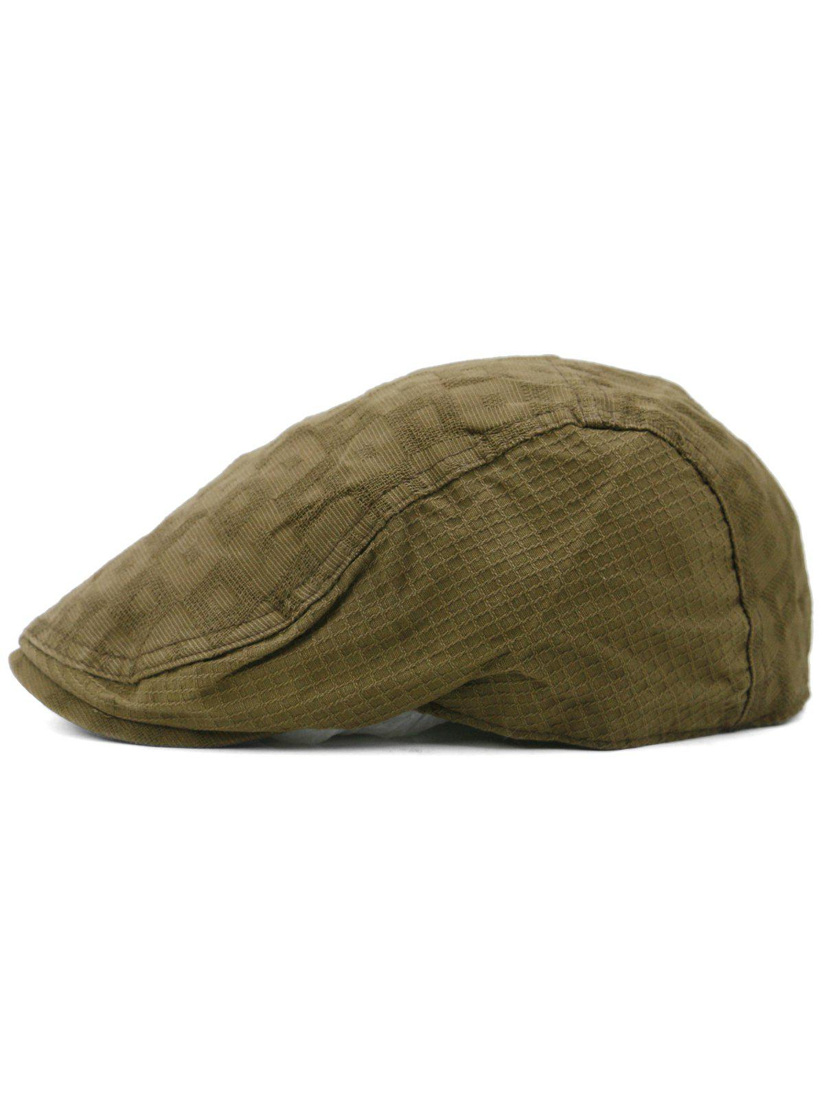 Outdoor Checked Pattern Cabbie Hat - COFFEE
