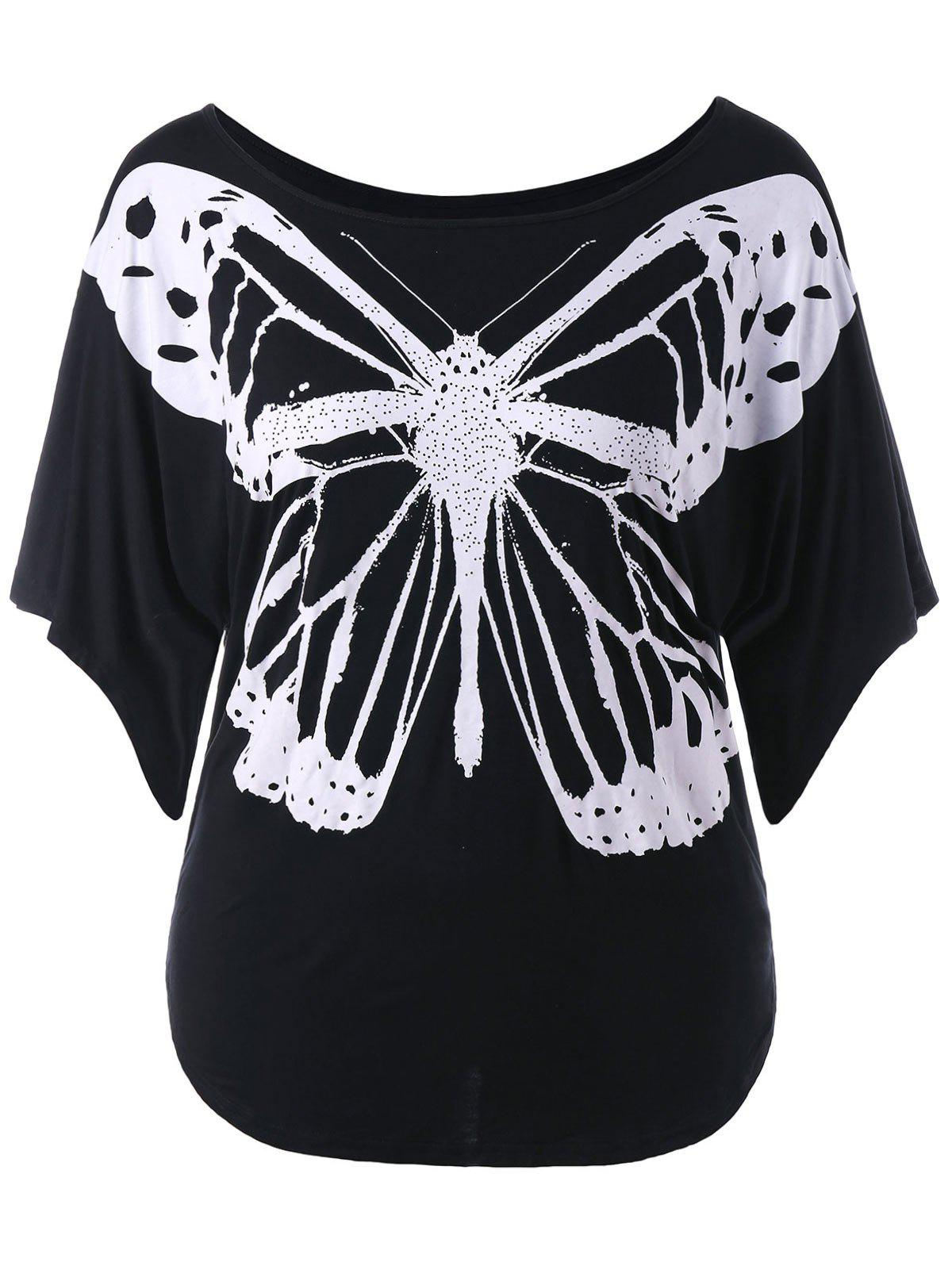 Butterfly Print Plus Size T-shirt - BLACK 3X