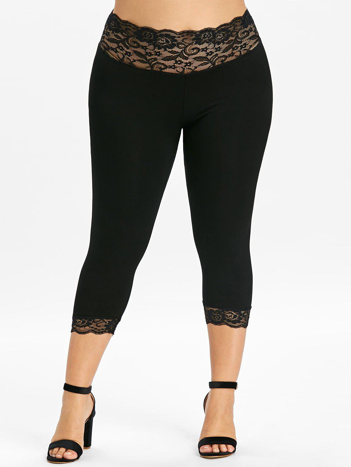 Plus Size Lace Panel Scalloped Capri Leggings - BLACK 1X