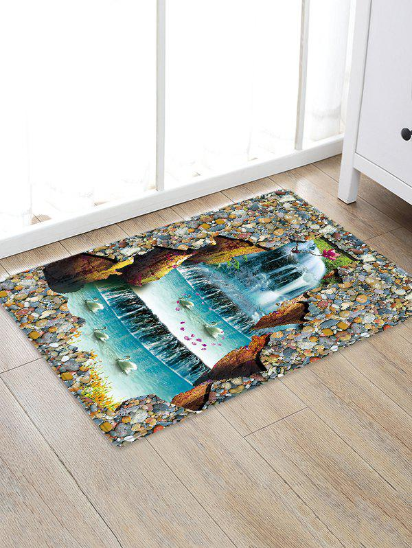 Uhommi Waterfall Swans Printed Skidproof Area Rug - multicolor W20 INCH * L31.5 INCH