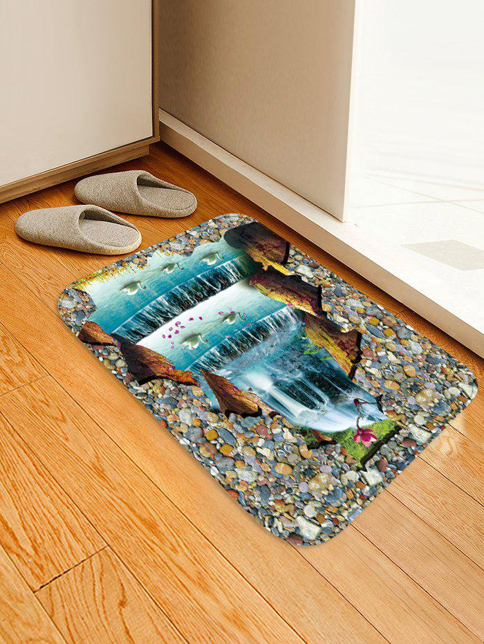 Uhommi Waterfall Swans Printed Skidproof Area Rug - multicolor W16 INCH * L24 INCH