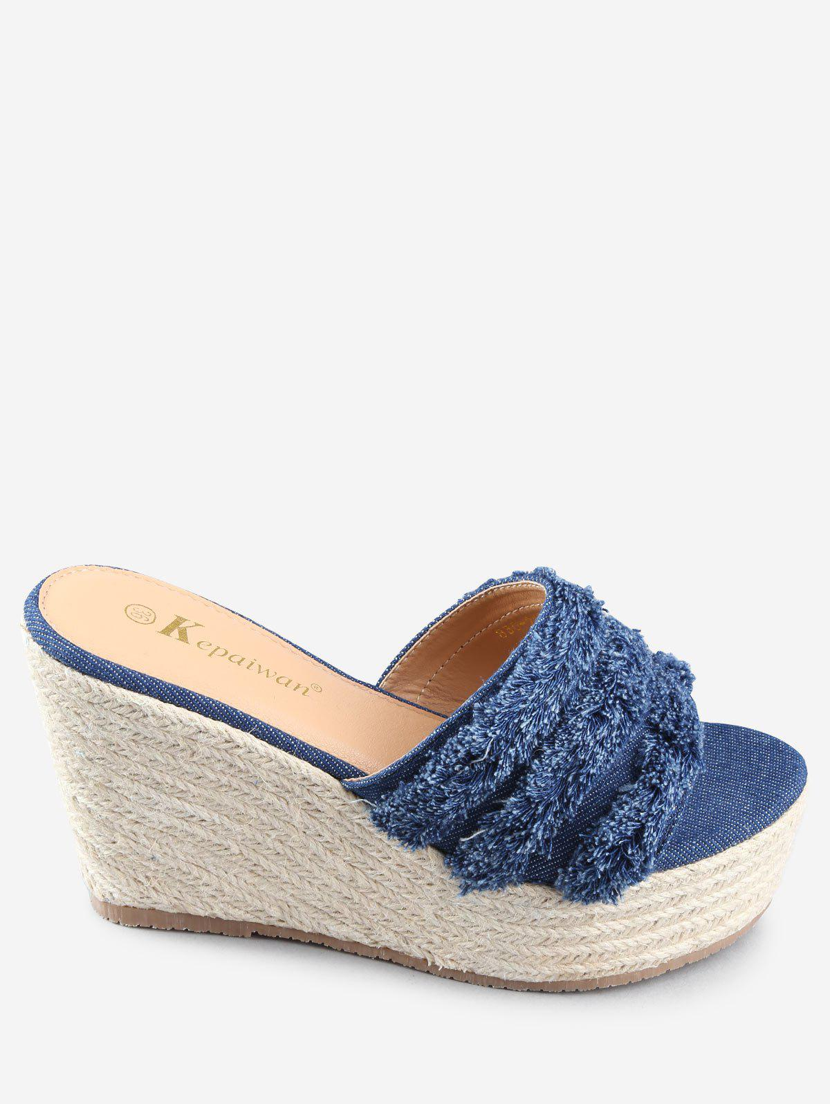 Wedge Heel Denim Leisure Frayed Edge Slides - DEEP BLUE 39