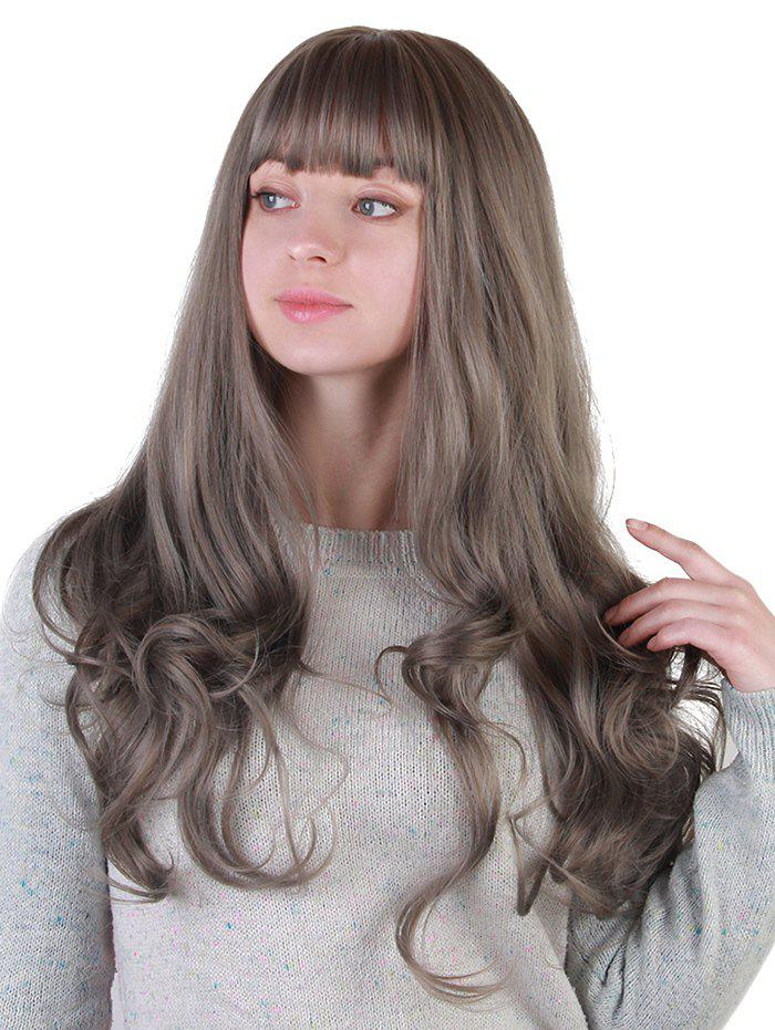 Full Bang Colormix Long Wavy Party Synthetic Wig - CLOUDY GRAY