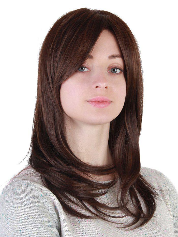 Medium Inclined Fringe Straight Synthetic Wig - BROWN