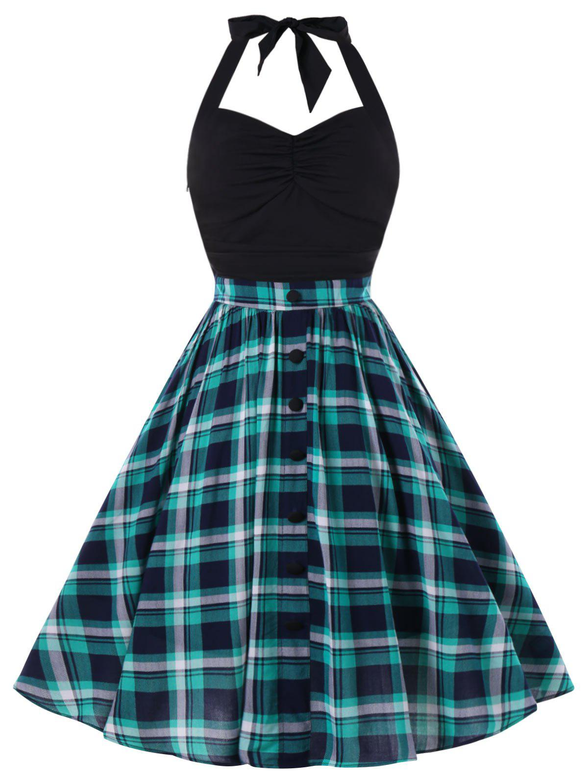 Retro Halter Plaid Pin Up Dress - LIGHT SEA GREEN L