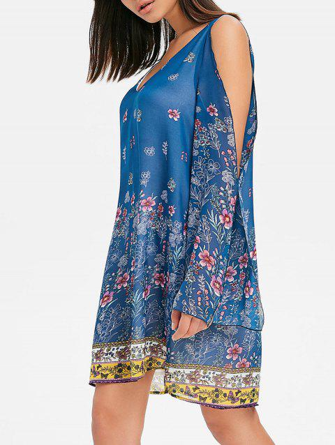 Split Sleeve Floral Chiffon Dress - BLUE M