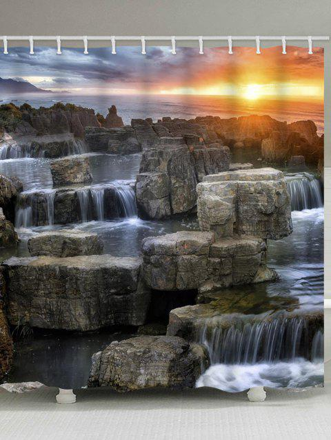 Waterfalls Stone Sunset Print Waterproof Shower Curtain - multicolor W71 INCH * L71 INCH