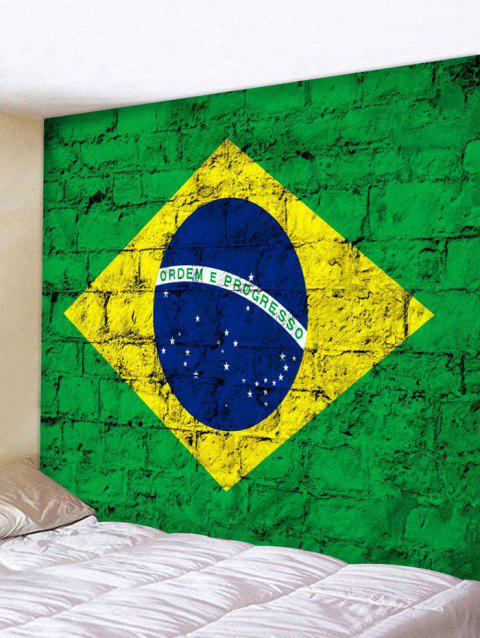 Brazilian Flag Print Wall Hanging Tapestry - SHAMROCK GREEN W91 INCH * L71 INCH