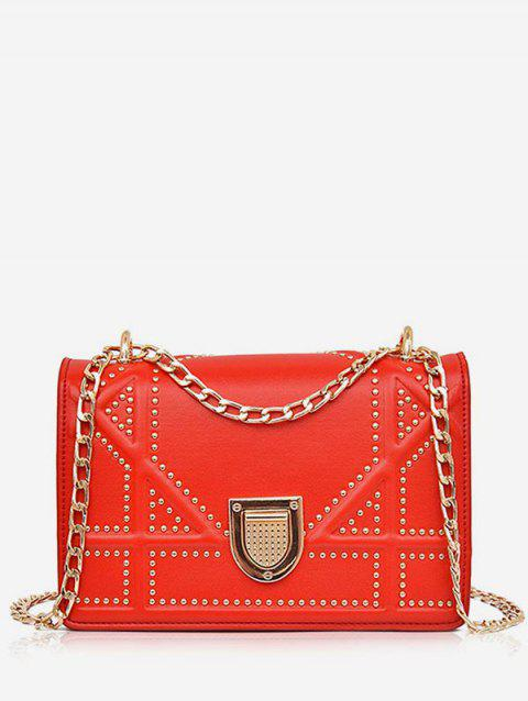 Casual Studs Quilted Crsossbody Bag - RED