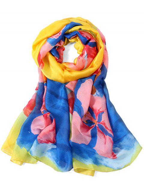Romantic Floral Printed Long Shawl Scarf - SUN YELLOW