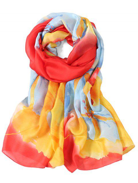Romantic Floral Printed Long Shawl Scarf - LOVE RED