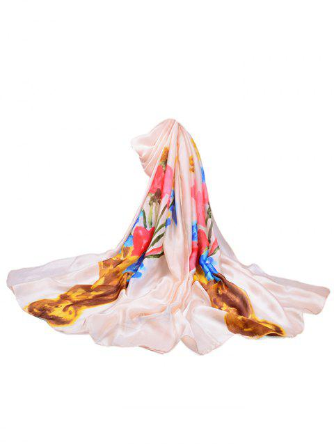 Vase of Floral Printed Silky Long Scarf - BEIGE