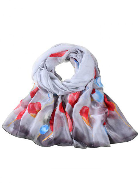 Soft Floral Pattern Spring Fall Scarf - GRAY