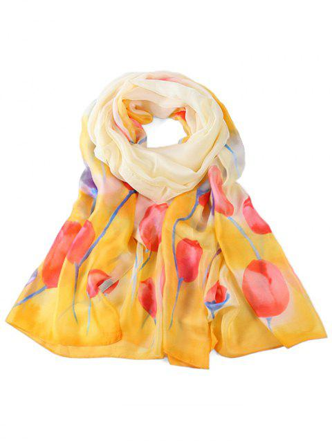 Soft Floral Pattern Spring Fall Scarf - RUBBER DUCKY YELLOW