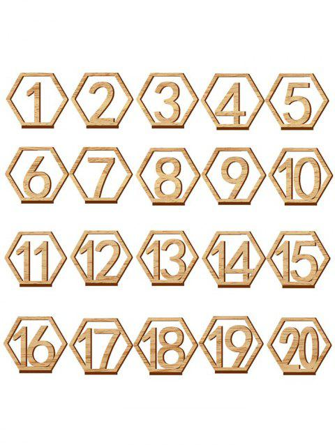 Number Sign Wood Wedding Decoration Set - BRIGHT YELLOW