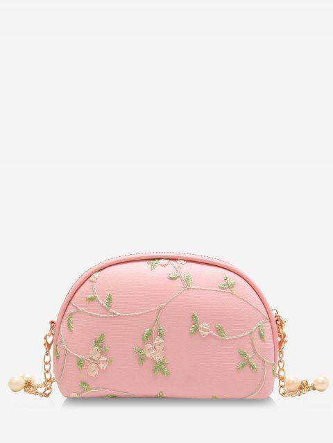 Chic Semicircle Shaped Embroidery Crossbody Bag - LIGHT PINK