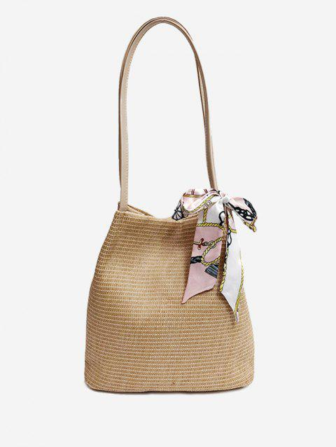 Bowknot Scarf Straw Shoulder Bag for Holiday - LIGHT KHAKI