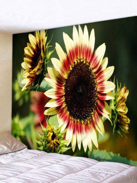 3D Sunflowers Printed Wall Hangings Tapestry - multicolor W91 INCH * L71 INCH