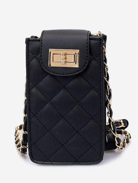 Casual Cellphone Flap Quilted Crossbody Bag - BLACK