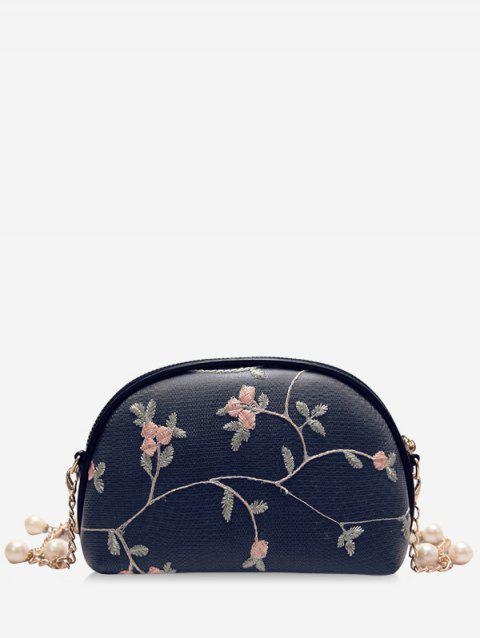 Chic Semicircle Shaped Embroidery Crossbody Bag - BLACK