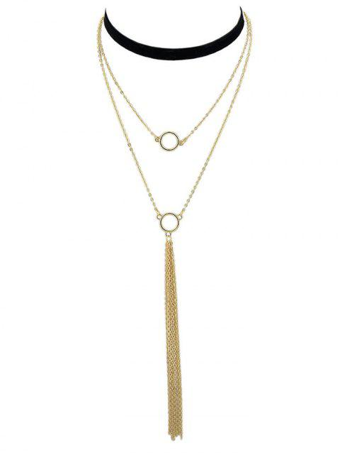 Layered Alloy Chain Necklace - GOLD