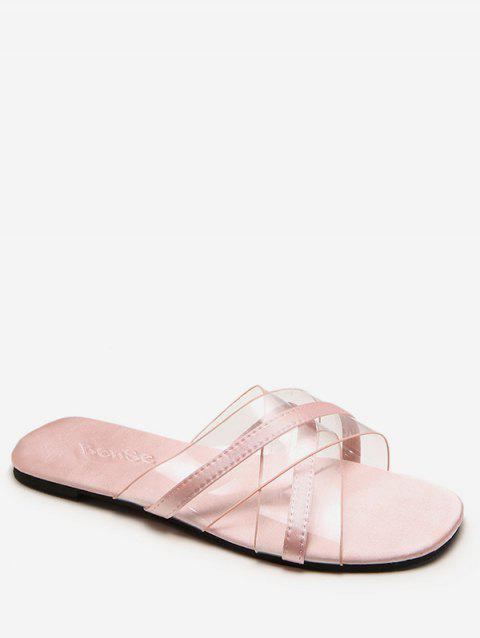 Crisscross Jelly Transparent Slides for Beach - LIGHT PINK 37