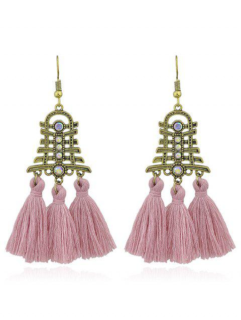 Vintage Rhinestone Tassel Decoration Hanging Earrings - PINK