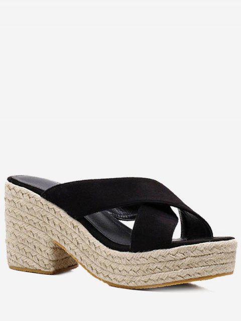 Espadrille Platform Crisscross Casual Sandals - BLACK 38