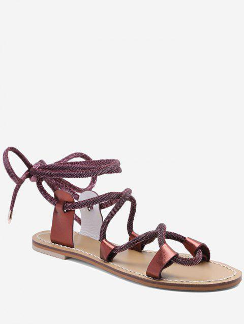 Lace Up Ankle Wraped Leisure Sandals - RED WINE 36