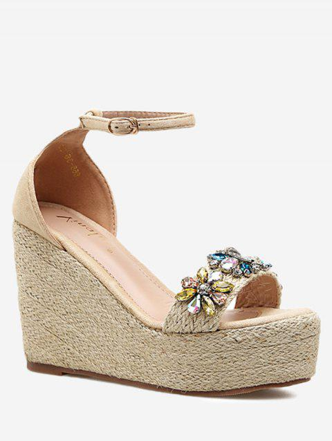 Ankle Strap Faux Crystal Floral Wedge Heel Sandals - APRICOT 34