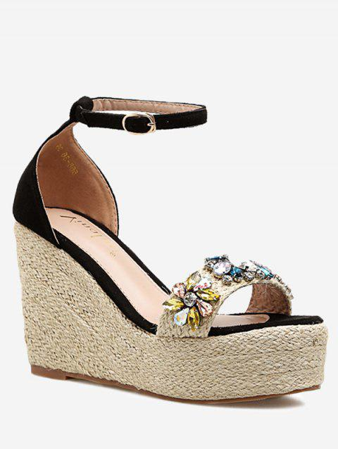 Ankle Strap Faux Crystal Floral Wedge Heel Sandals - BLACK 37