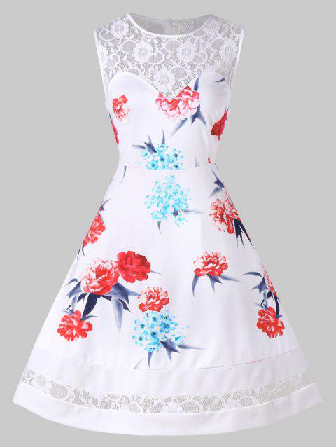 Vintage Floral Lace Insert Pin Up Dress - WHITE M