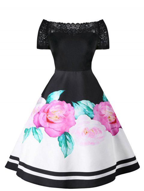 Vintage Lace Insert Floral Swing Dress - BLACK M