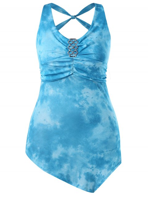 Plus Size Tie Dye Embellished Tank Top - LIGHT SKY BLUE 3X